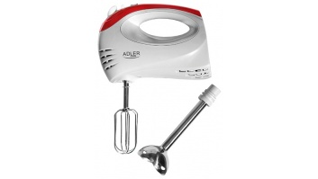Hand Mixer Adler AD 4212 White, Hand Mixer, 300 W, Number of speeds 5, Shaft material Stainless steel