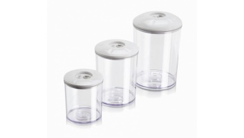 MAGIC VAC Food storage containers set  3 + 1.5 + 0.75L with lids ACO1082 Plastic BPA free, Transparent/ white