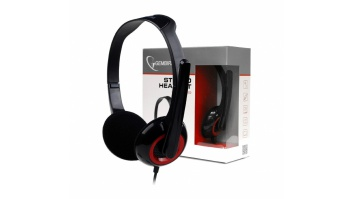 Gembird MHS-002 Stereo headset 3.5 mm, Black/Red, Built-in microphone