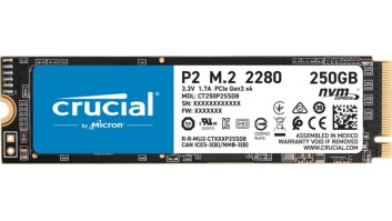 SSD|CRUCIAL|P2|250GB|M.2|PCIE|NVMe|Write speed 1150 MBytes/sec|Read speed 2100 MBytes/sec|CT250P2SSD8